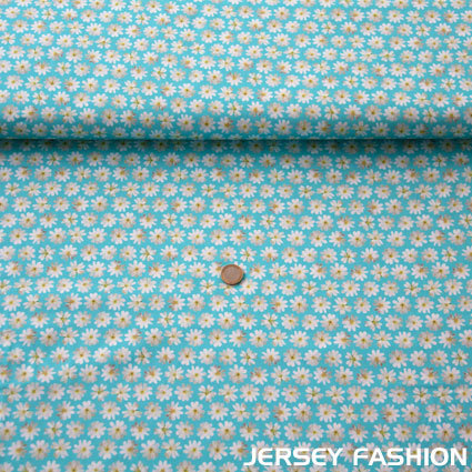 "Hilco cotton fabric ""Margaridas"" light blue"
