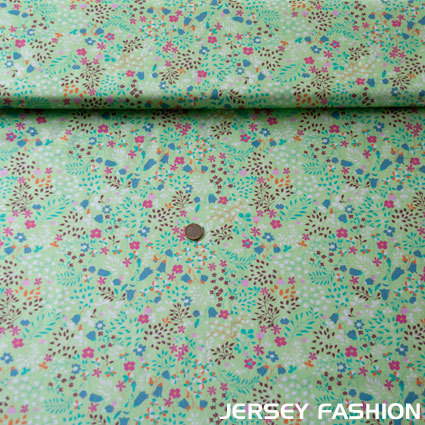 "Hilco cotton fabric ""Campanule"" soft light green"