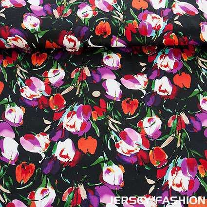 "Stretch cotton satinized ""Tulipes Splendeur"" black"
