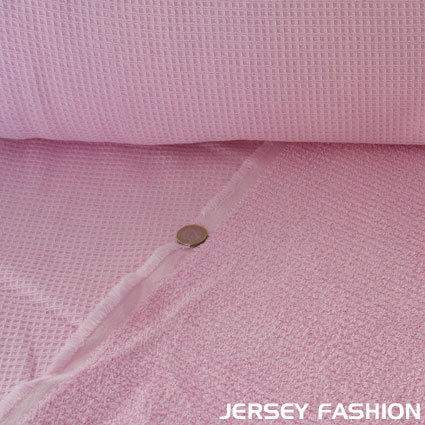 Waffle fabric with terry cloth pink