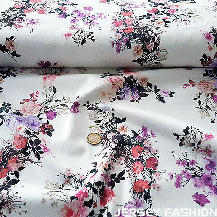 "Stretch cotton fabric ""Floral Romantica"""