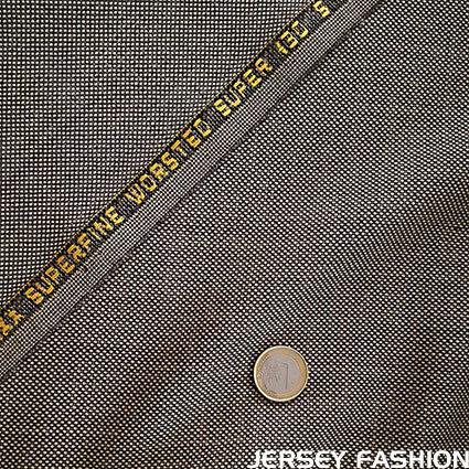 "Italian worsted wool fabric S130 ""Birdseye"" beige brown"