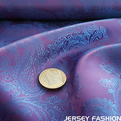 Taft jacquard (voering) paisley changeant paars - blauw