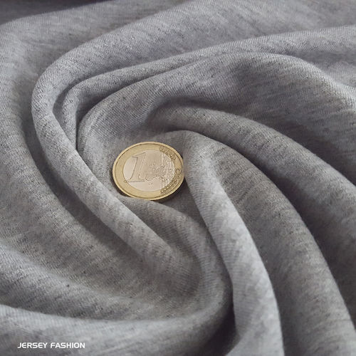 Stretch cotton sweatshirt melange light grey | Remnant piece 60cm