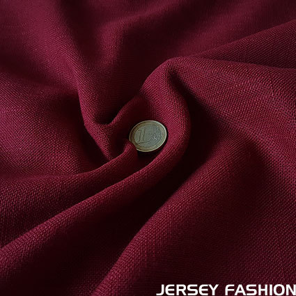 Viscose linen fabric dark red