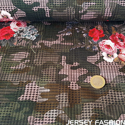"Stretch cotton fabric Hilco ""Camouflage Rose"""