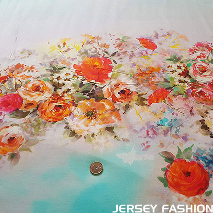 "Inkjet viscose jersey fabric ""Summer Sky"""