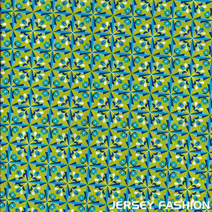 Poplin Bloomy Diamonds - green / blue | Remnant piece 66cm