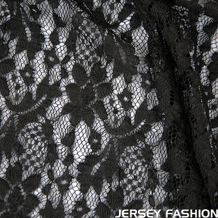"Stretch lace fabric ""Pazia"" black - Hilco"