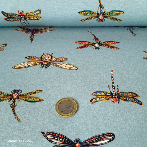"Inkjet viscose jersey fabric ""Dragonfly"" - Bittoun 