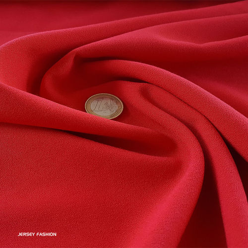 Fine stretch crepe red - Toptex | Remnant piece 65cm