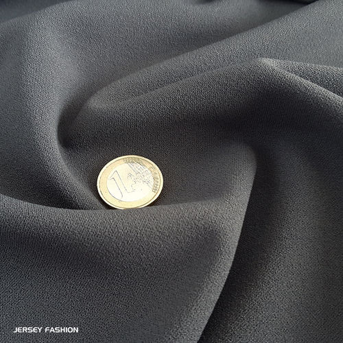 Jersey crepe fabric dark grey | Remnant piece 145cm