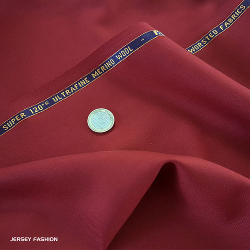 Wool fabric - Merino wool S120 - red | Remnant piece 65cm