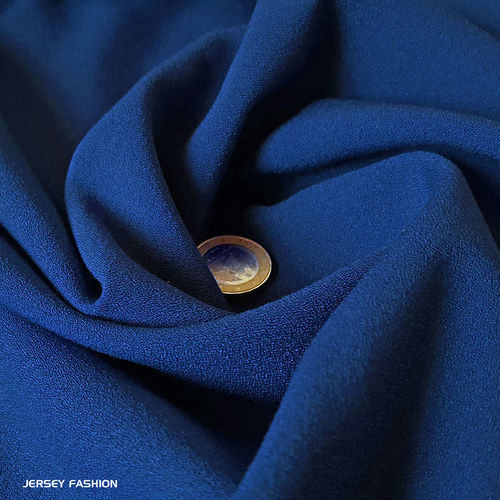 Stretch crepe fabric cobalt blue - Toptex | Remnant piece 88cm