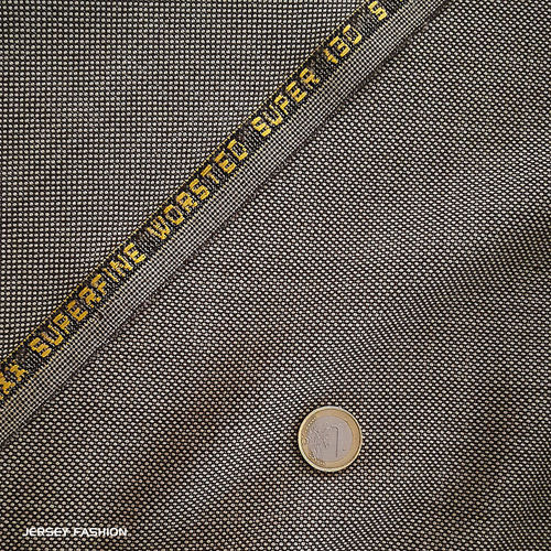 "Italian worsted wool fabric S130 ""Birdseye"" beige brown 