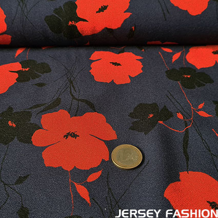 "Woven viscose crepe fabric ""Katharine"" red - Hilco"
