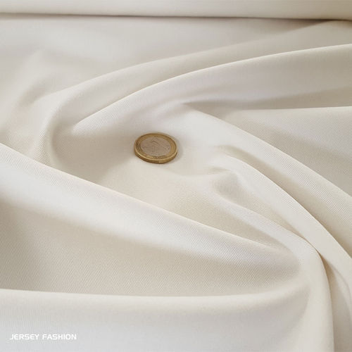 Fine stretch cotton twill fabric ecru | Remnant piece 67cm