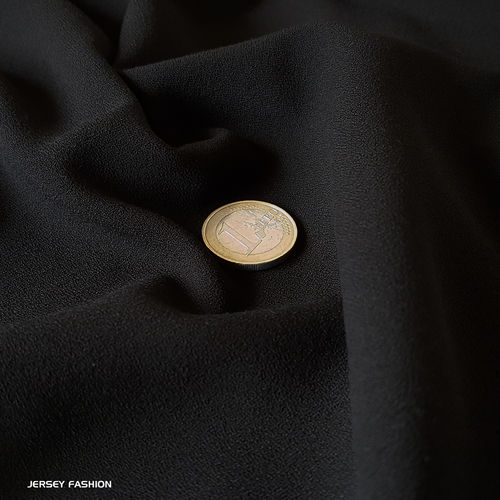 Fine stretch crepe fabric black - Toptex | Remnant piece 45cm
